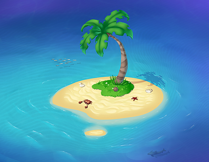Tropical island with palm