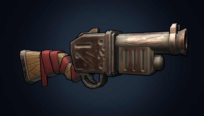 Stylized hand painted low poly weapon gun