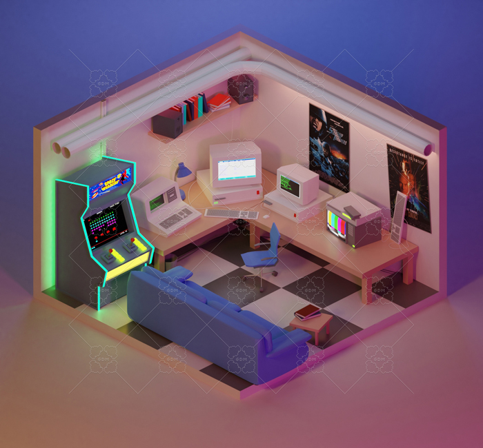 90's Retro Gaming Room