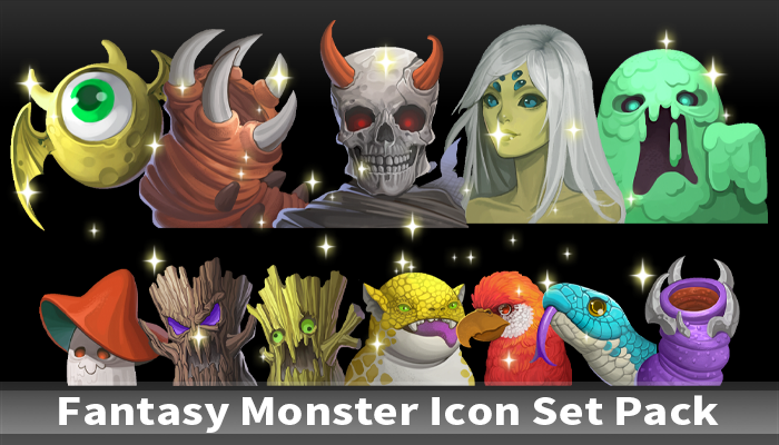Fantasy Monster Icon Set Pack