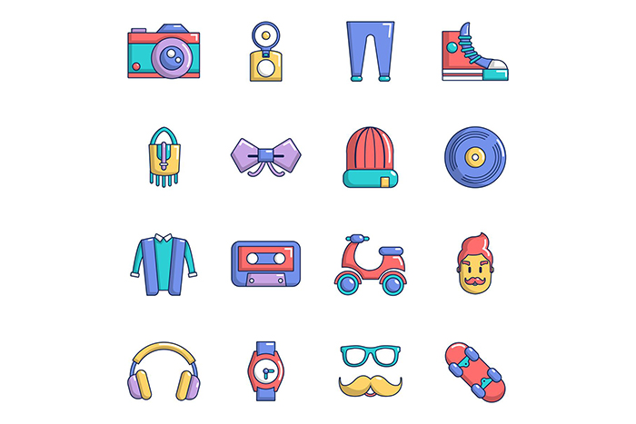 Hipster symbols icons set, cartoon style