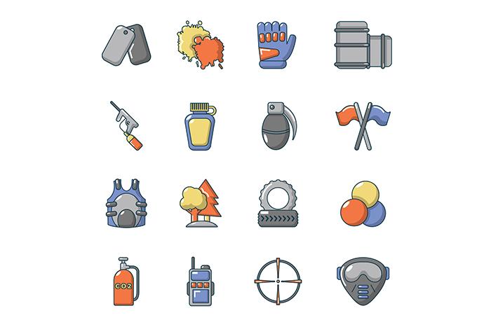Paintball icons set, cartoon style
