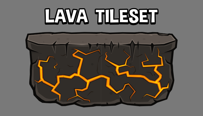 Lava themed 2d platformer tile set