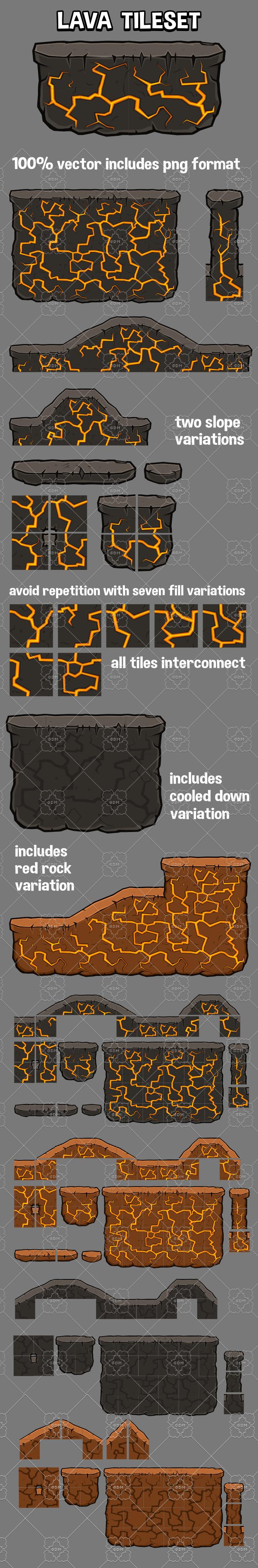Lava themed 2d platformer tile set