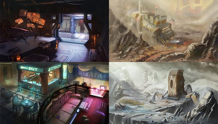 4 sci-fi backgrounds