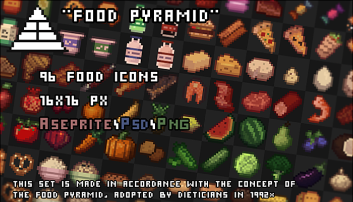 96 Pixel food icons