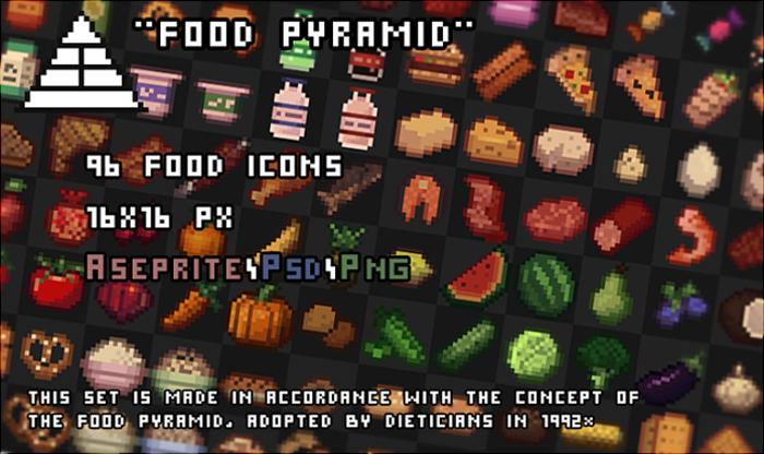 96 Pixel food icons