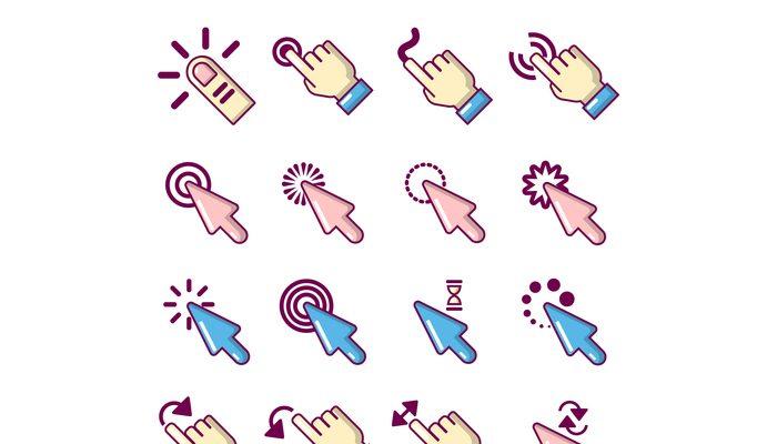 Hand click icons set, cartoon style