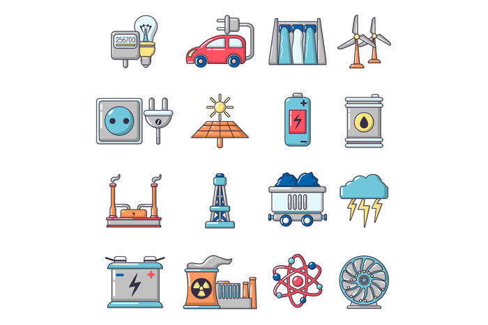 Energy sources icons set, cartoon style