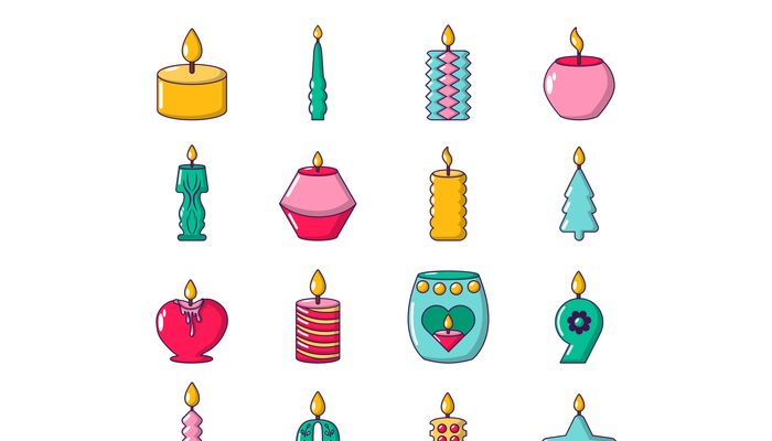 Candle forms icons set light, cartoon style