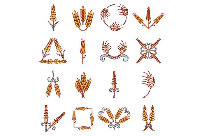 Ear corn icons set, cartoon style