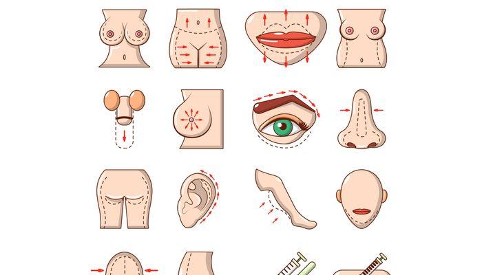 Body parts icons set, cartoon style