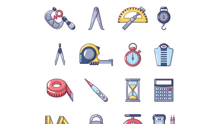Measure precision icons set, cartoon style