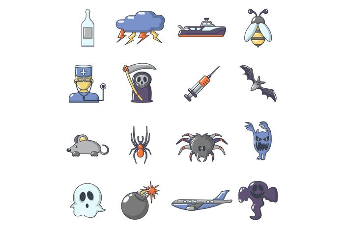 Fears phobias icons set, cartoon style