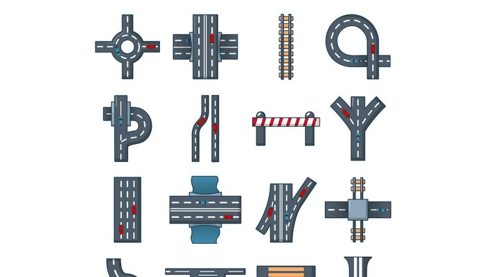 Road parts constructor icons set, cartoon style