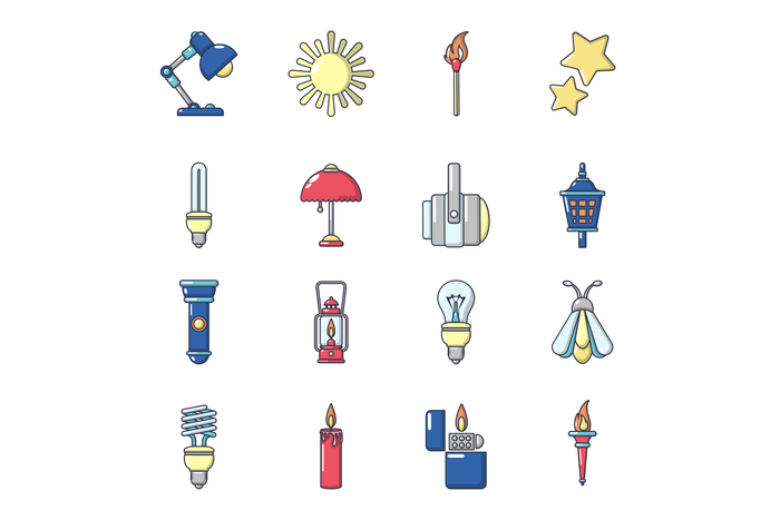 Light source icons set, cartoon style