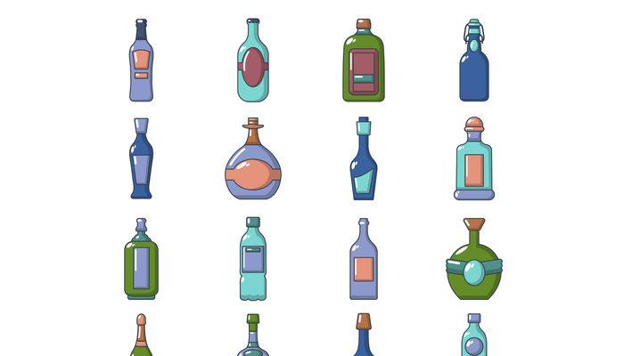 Bottles icons set, cartoon style