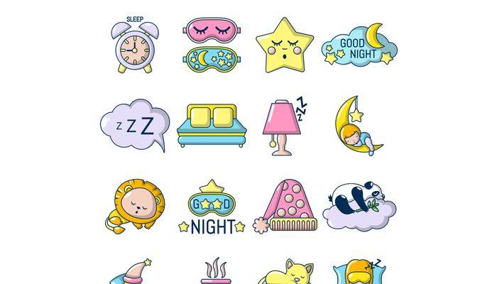 Sleeping icons set, cartoon style
