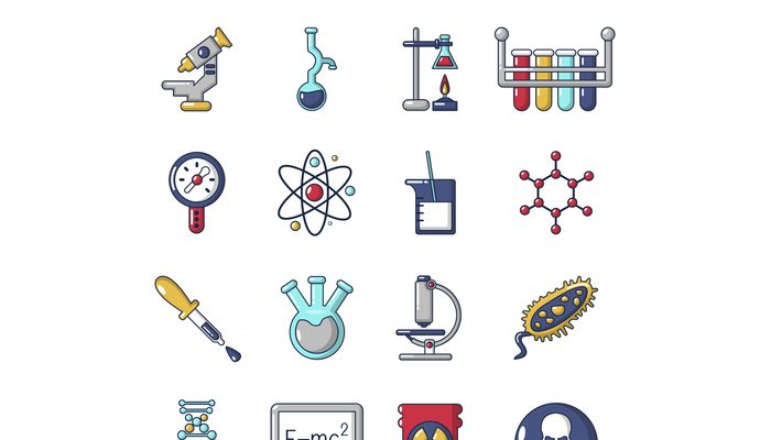 Chemistry laboratory icons set, cartoon style