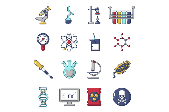 Chemistry laboratory icons set, cartoon style