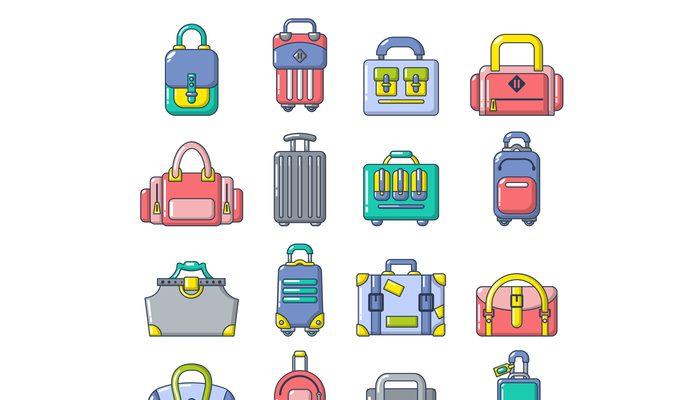Bag baggage suitcase icons set, cartoon style