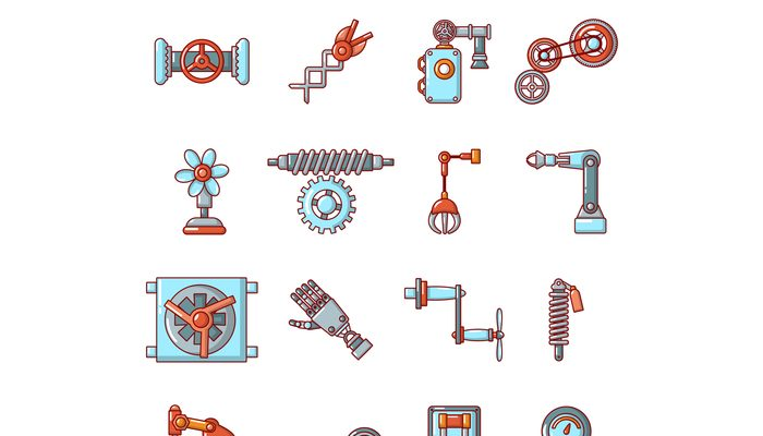 Technical mechanisms icons set, cartoon style