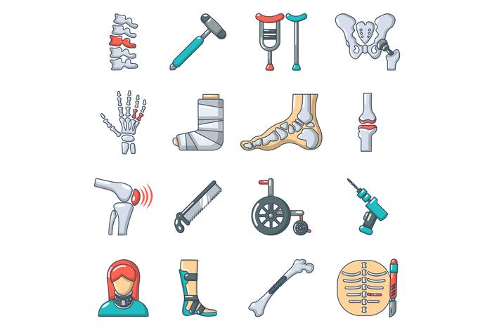 Orthopedist bone tools icons set, cartoon style