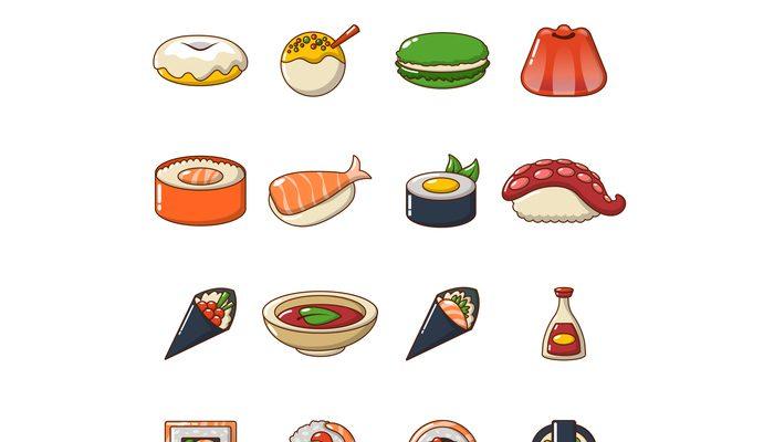Japan food icons set, cartoon style