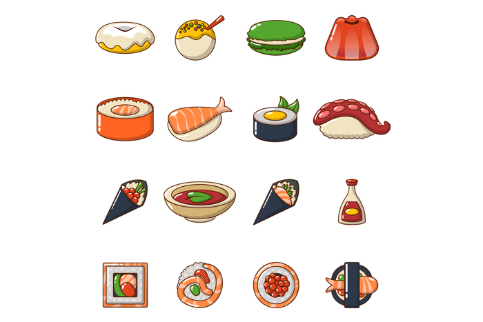 Japan food icons set, cartoon style