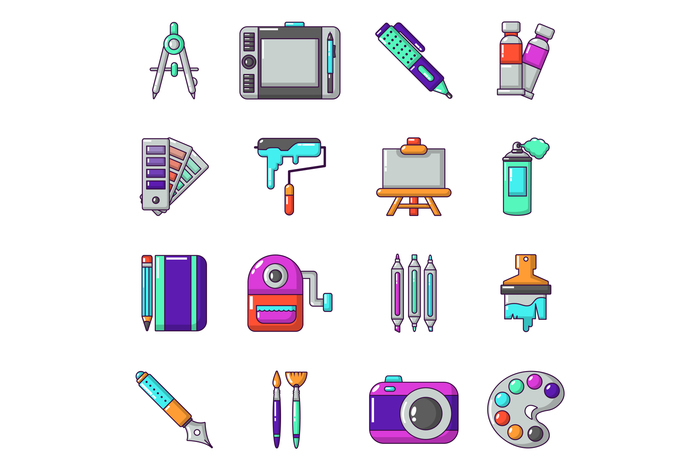 Design and drawing tools icons set, cartoon style