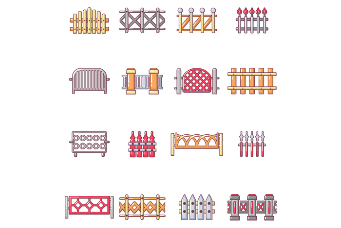 Different fencing icons set, cartoon style