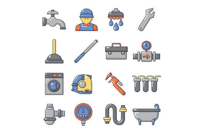 Plumber symbols icons set, cartoon style