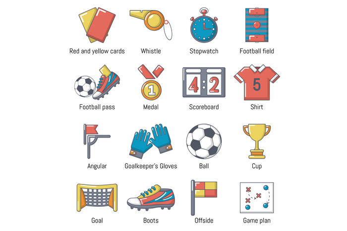 Soccer football icons set, cartoon style