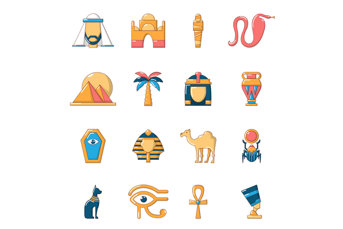 Egypt travel icons set, cartoon style