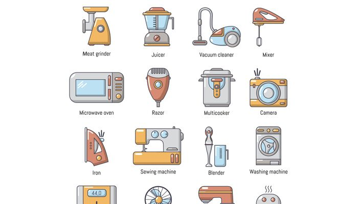 Domestic appliances icons set, cartoon style