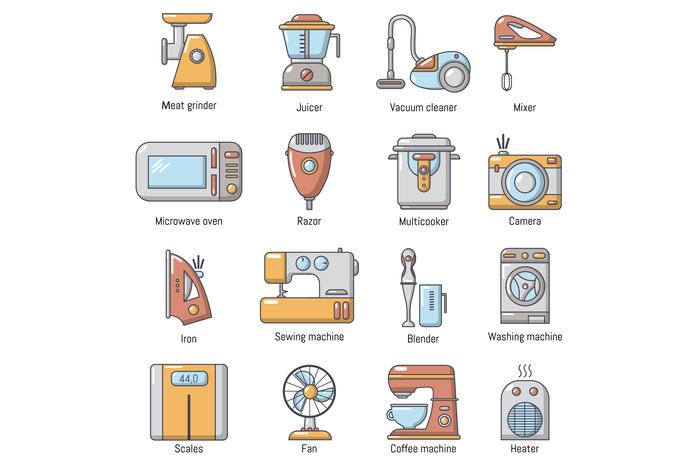 Domestic appliances icons set, cartoon style