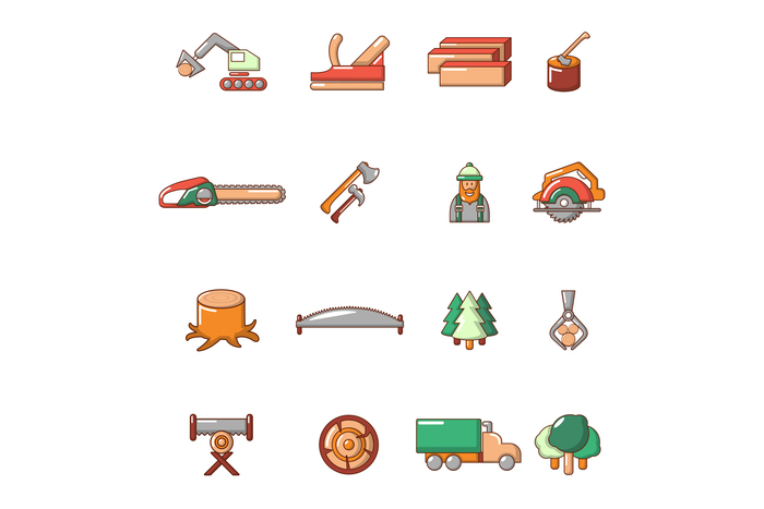 Timber industry icons set, cartoon style