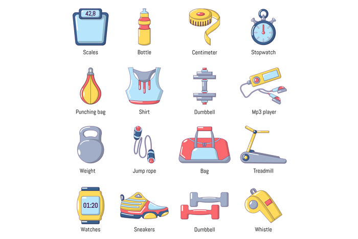 Gym sport icons set, cartoon style
