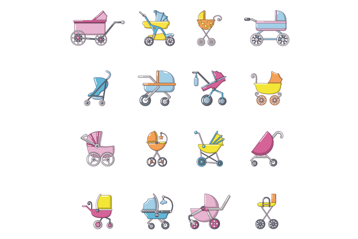 Baby carriage icons set, cartoon style
