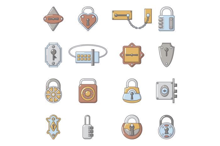 Lock door types icons set, cartoon style