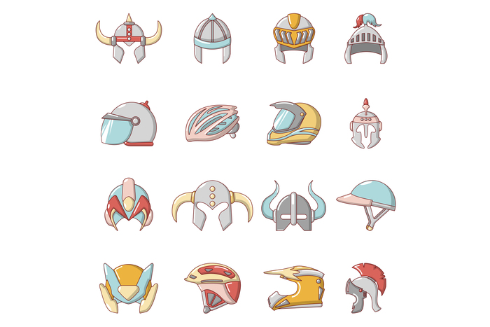 Helmet icons set, cartoon style