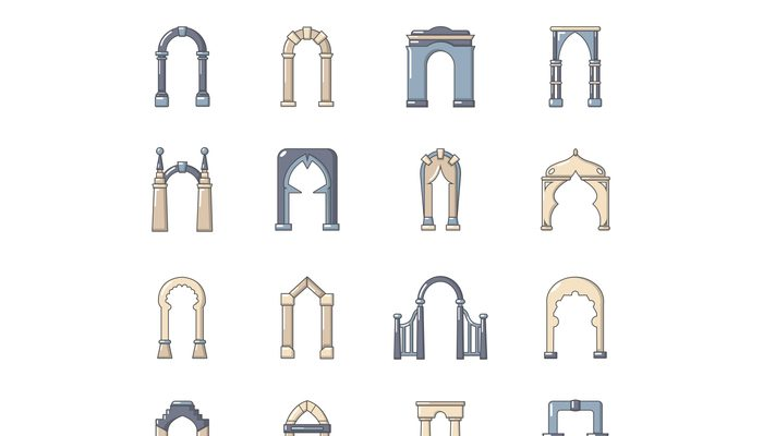Arch types icons set, cartoon style