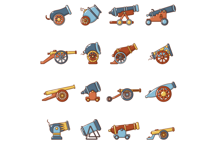 Cannon retro icons set, cartoon style