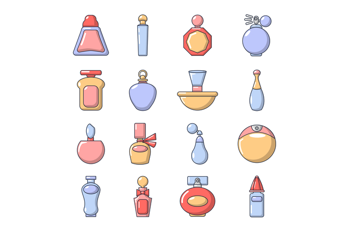 Perfume bottle icons set, cartoon style