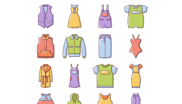 Fashion clothes wear icons set, cartoon style