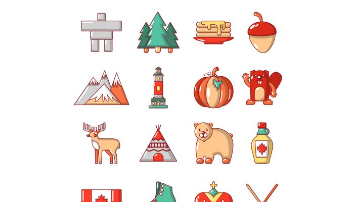 Canada travel icons set, cartoon style