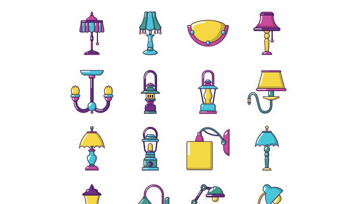 Lamp icons set, cartoon style