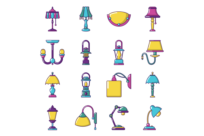 Lamp icons set, cartoon style