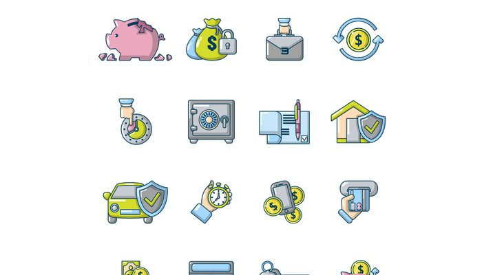Credit icons set, cartoon style