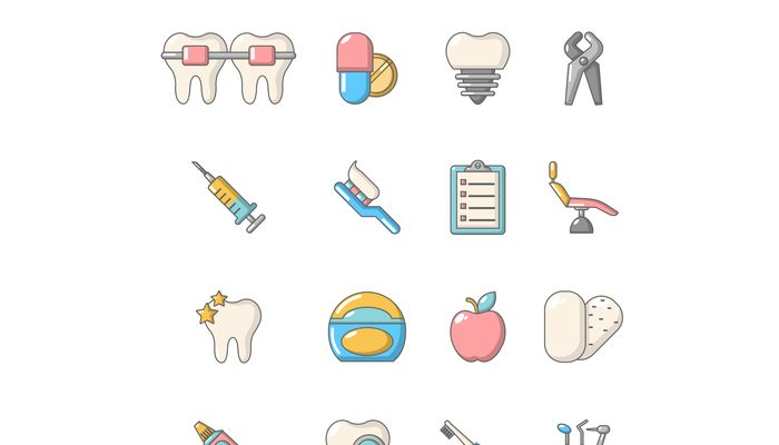 Stomatology dental icons set, cartoon style